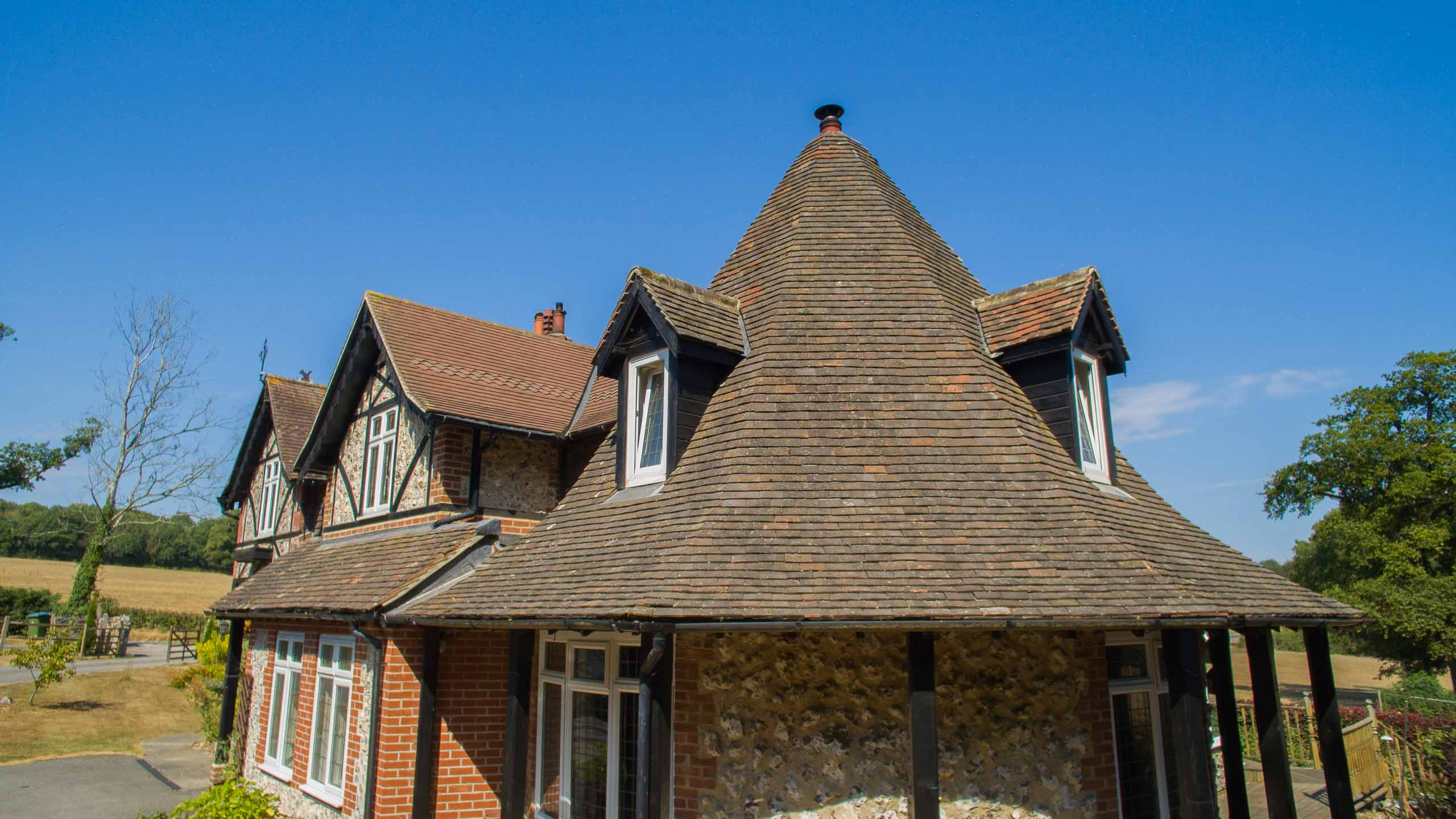 turret roof - building work and roofing by RJ Steele builders in Sussex
