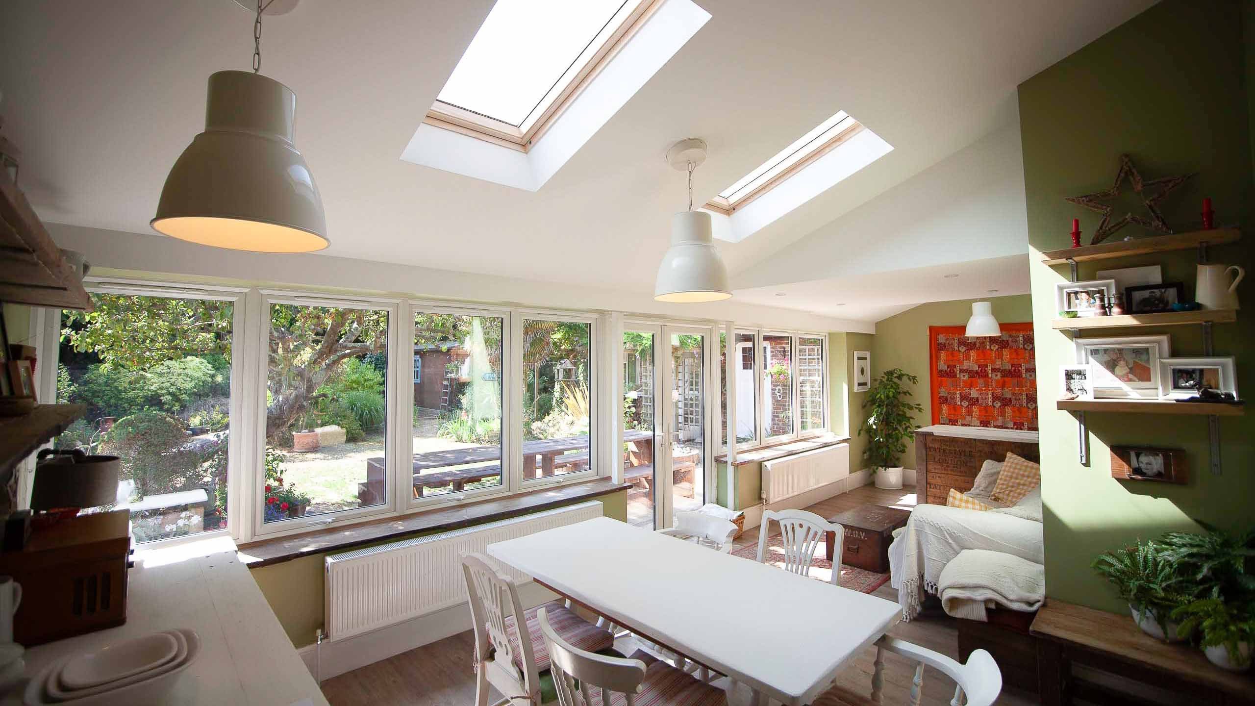A new rear extension interior with skylights and double glazing - all building services by RJ Steeles builders in Sussex