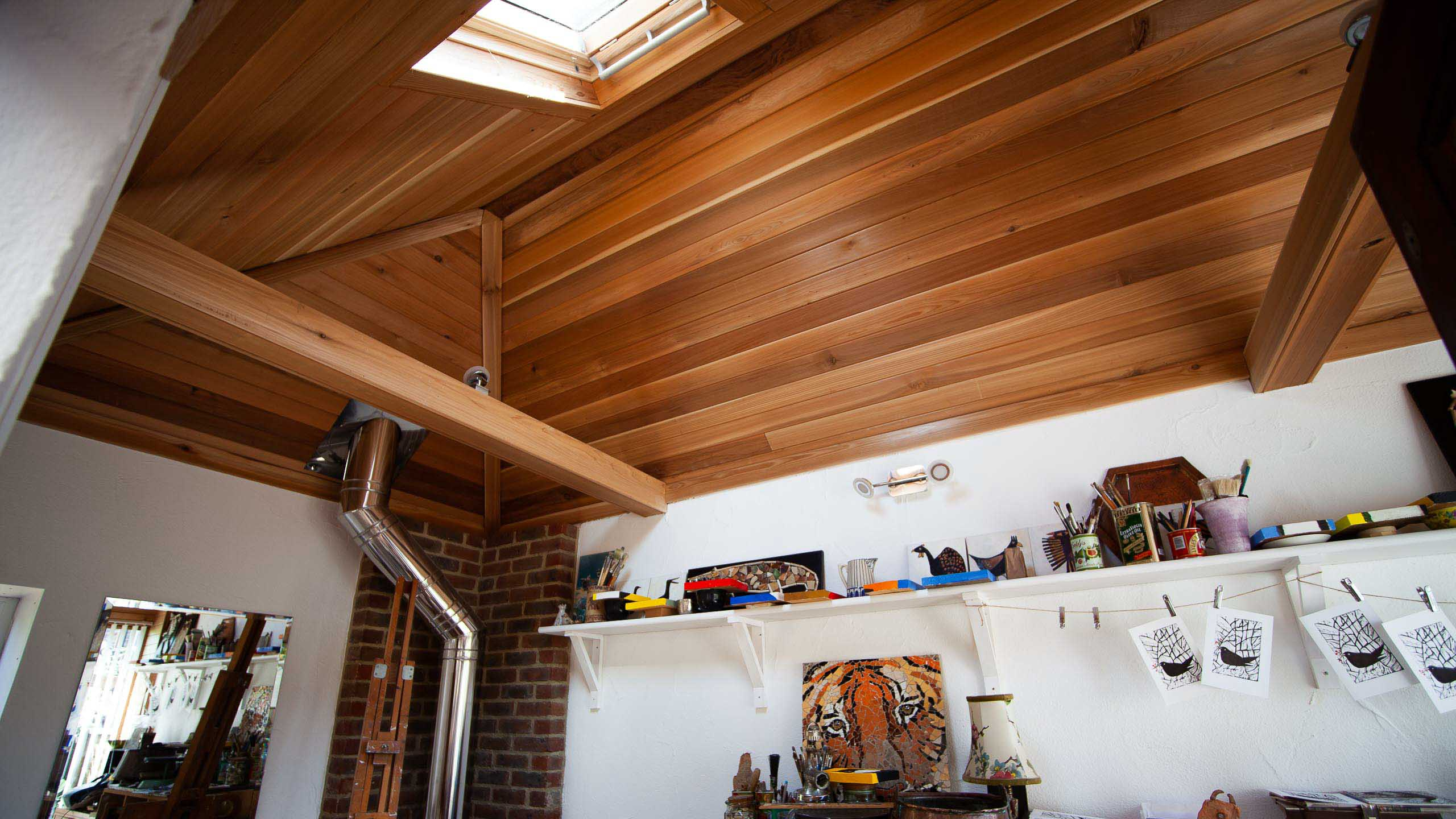 Garden room studio with sky light - building work by RJ Steeles builder in Sussex