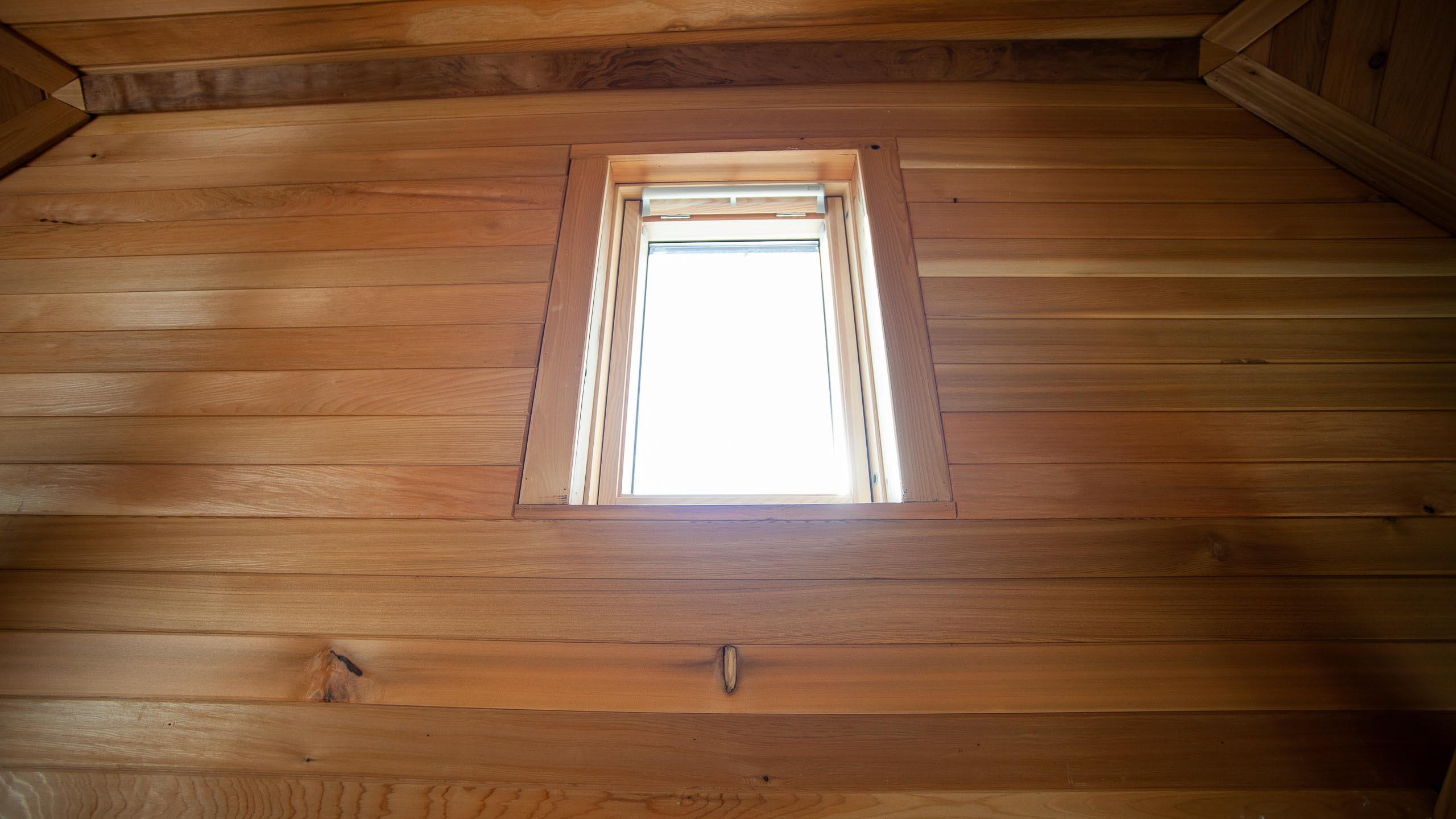 sky light in wood panelled studio ceiling - building work by RJ Steele builders in Sussex