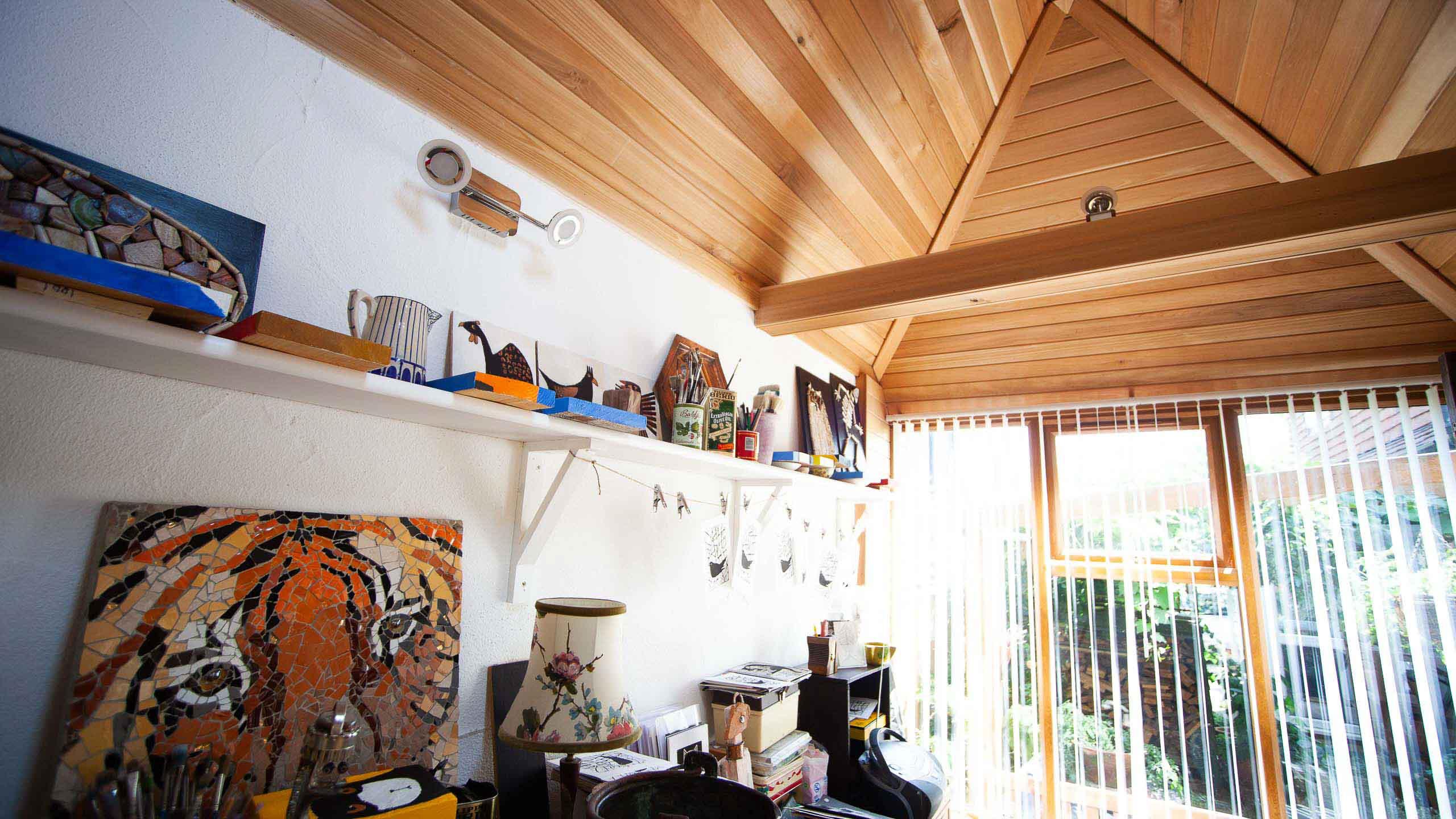 garden room ceiling in wood - building work by RJ Steele builders in Sussex