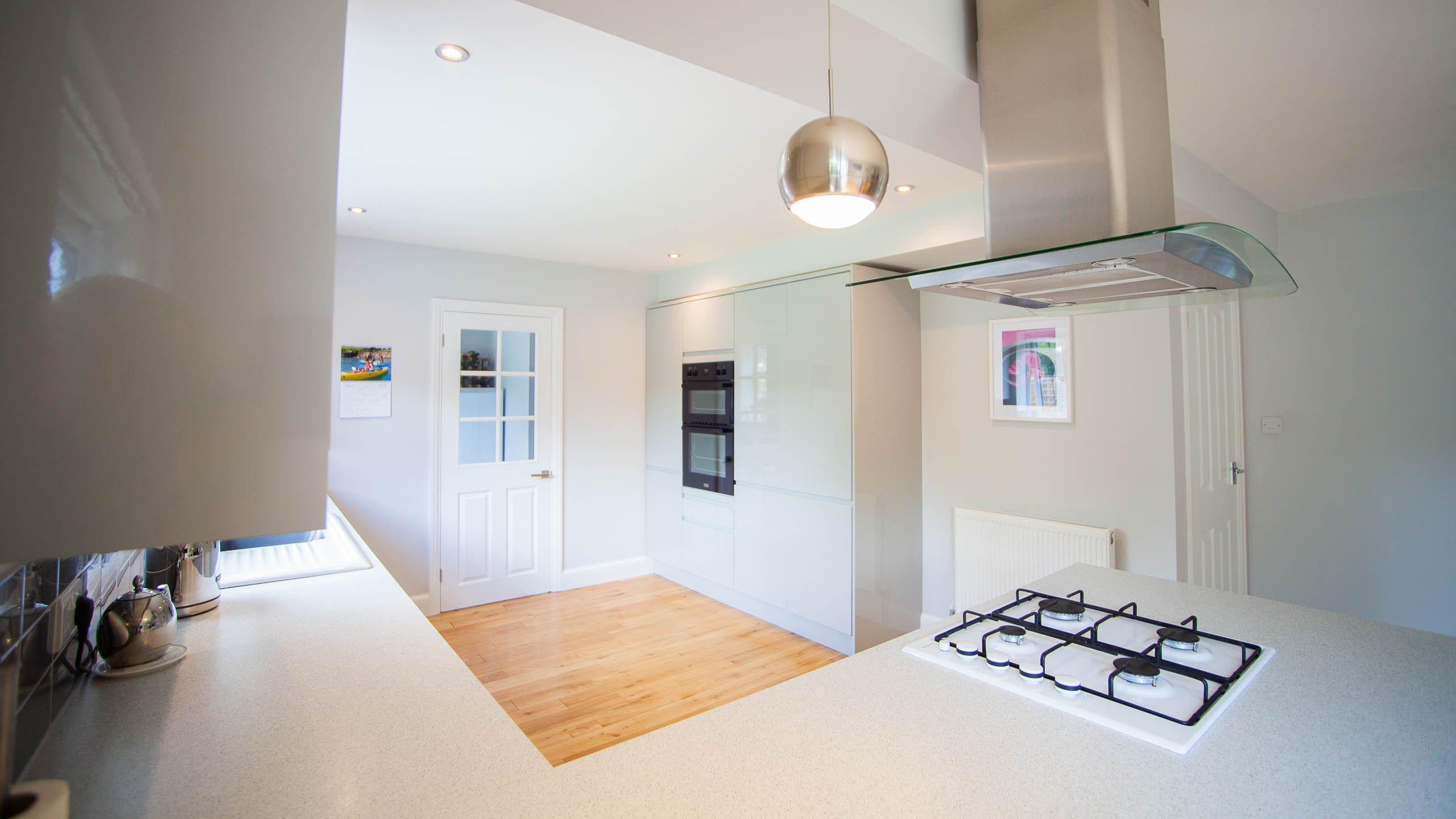 white kitchen - kitchen installation by RJ Steele builders in Sussex