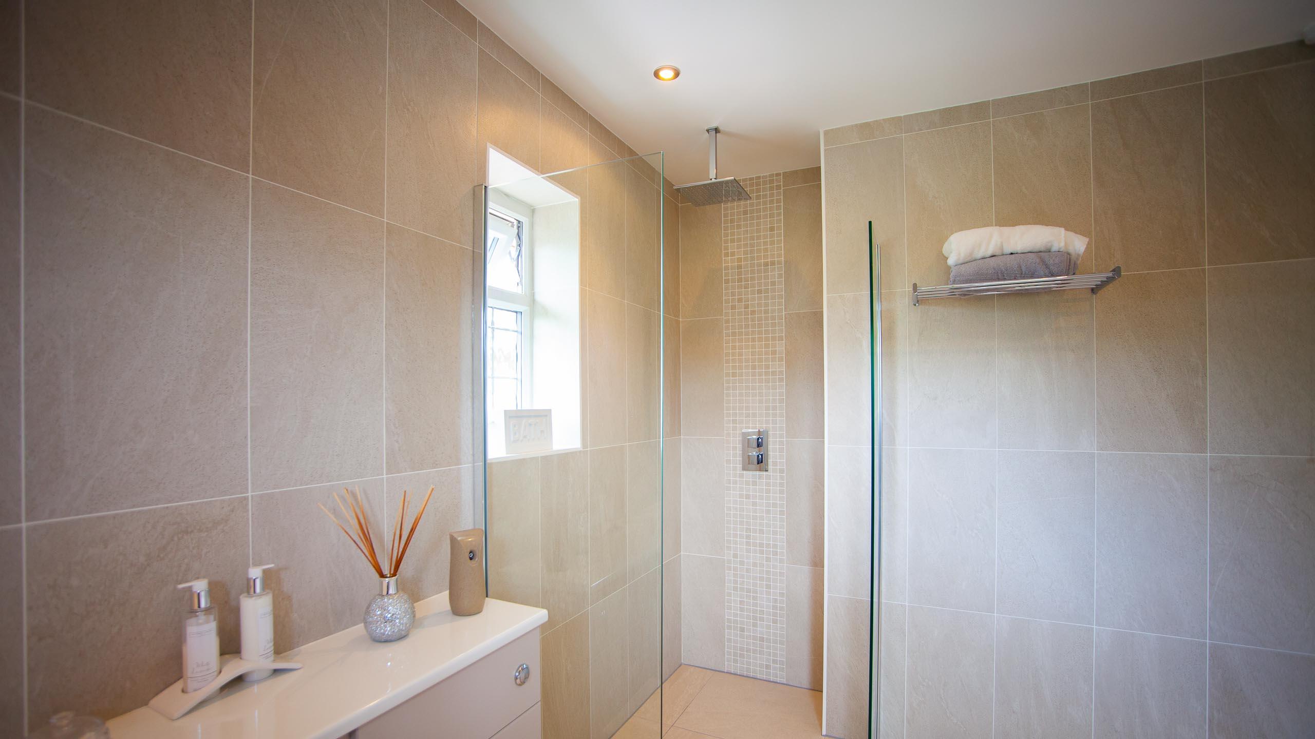 modern bathroom shower - bathroom installation by RJ Steele builders in Sussex