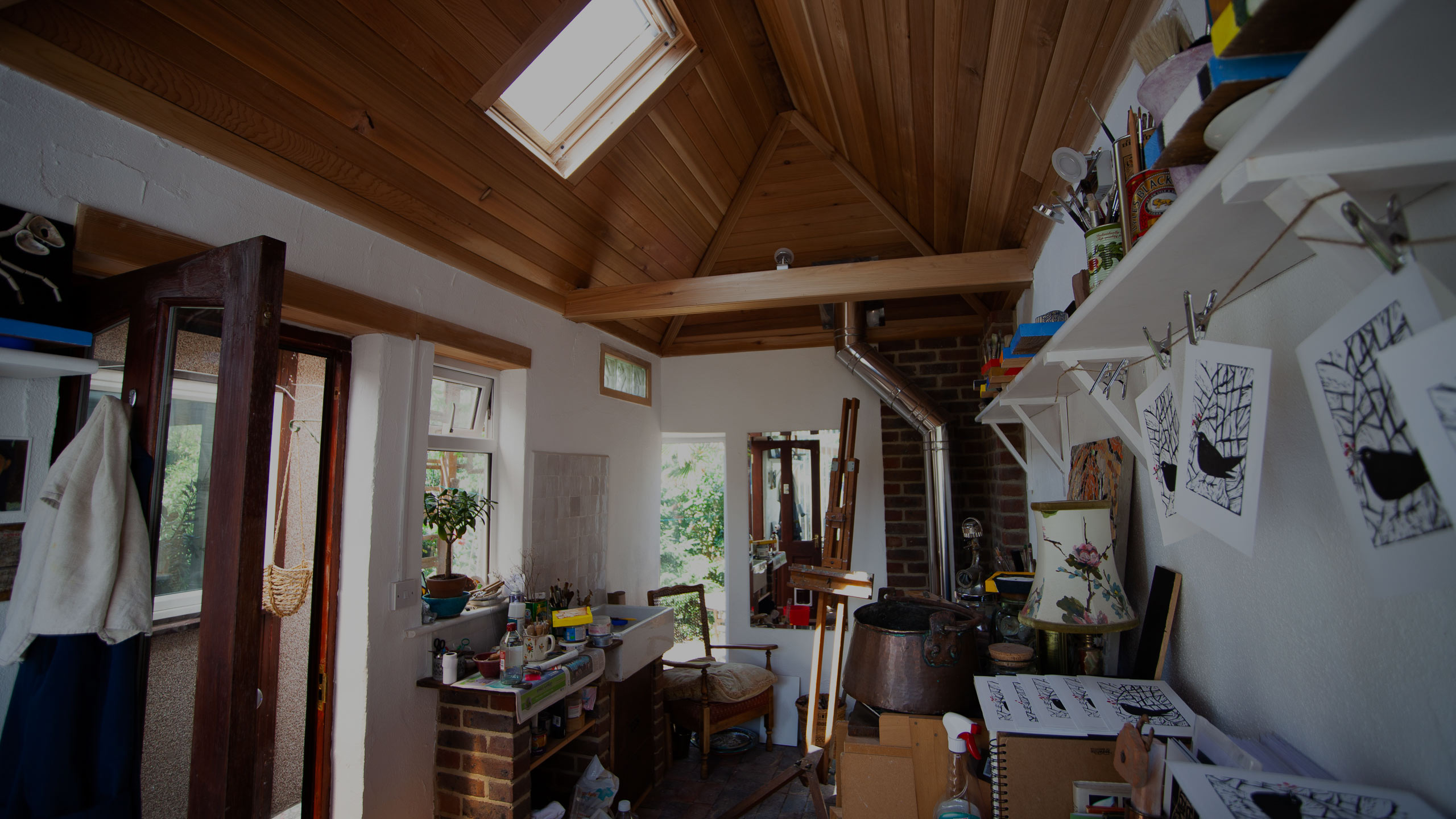 interior of artist's studio - garage conversion, roofing and decorating by RJ Steele builders in Sussex